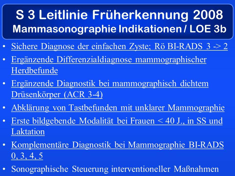 Sichere Diagnose der einfachen Zyste; Rö BI-RADS 3 -> 2 Ergänzende Differenzialdiagnose mammographischer Herdbefunde Ergänzende Diagnostik bei mammographisch dichtem Drüsenkörper (ACR 3-4) Abklärung von Tastbefunden mit unklarer Mammographie Erste bildgebende Modalität bei Frauen < 40 J., in SS und Laktation Komplementäre Diagnostik bei Mammographie BI-RADS 0, 3, 4, 5 Sonographische Steuerung interventioneller Maßnahmen S 3 Leitlinie Früherkennung 2008 Mammasonographie Indikationen / LOE 3b