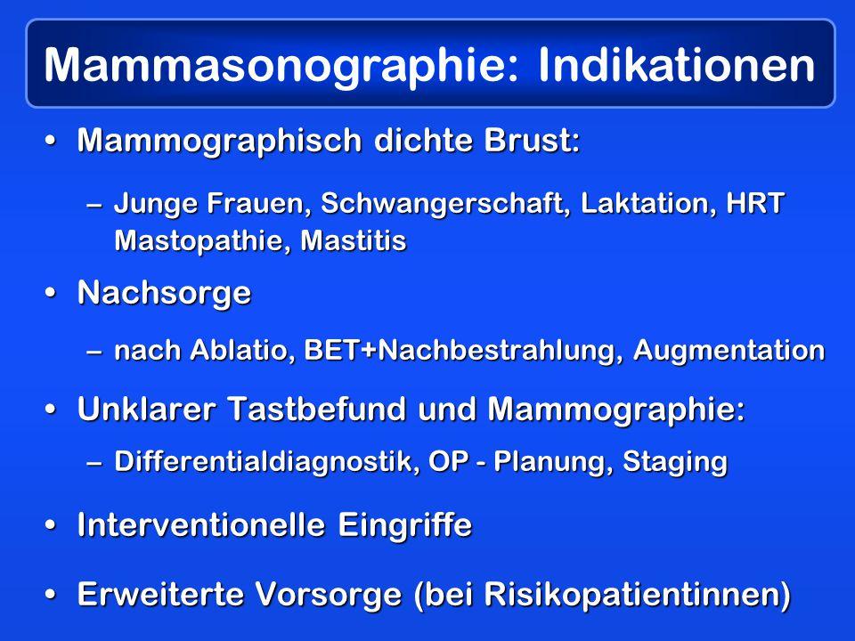 Mammasonographie: Indikationen Mammographisch dichte Brust:Mammographisch dichte Brust: –Junge Frauen, Schwangerschaft, Laktation, HRT Mastopathie, Mastitis NachsorgeNachsorge –nach Ablatio, BET+Nachbestrahlung, Augmentation Unklarer Tastbefund und Mammographie:Unklarer Tastbefund und Mammographie: –Differentialdiagnostik, OP - Planung, Staging Interventionelle EingriffeInterventionelle Eingriffe Erweiterte Vorsorge (bei Risikopatientinnen)Erweiterte Vorsorge (bei Risikopatientinnen)