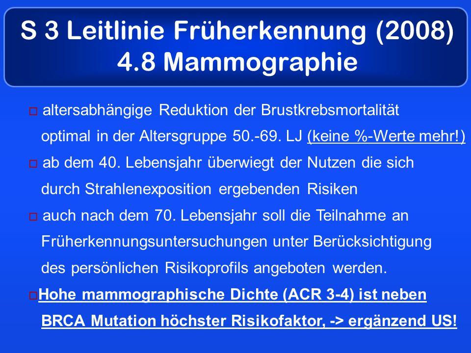 S 3 Leitlinie Früherkennung (2008) 4.8 Mammographie  altersabhängige Reduktion der Brustkrebsmortalität optimal in der Altersgruppe 50.-69.