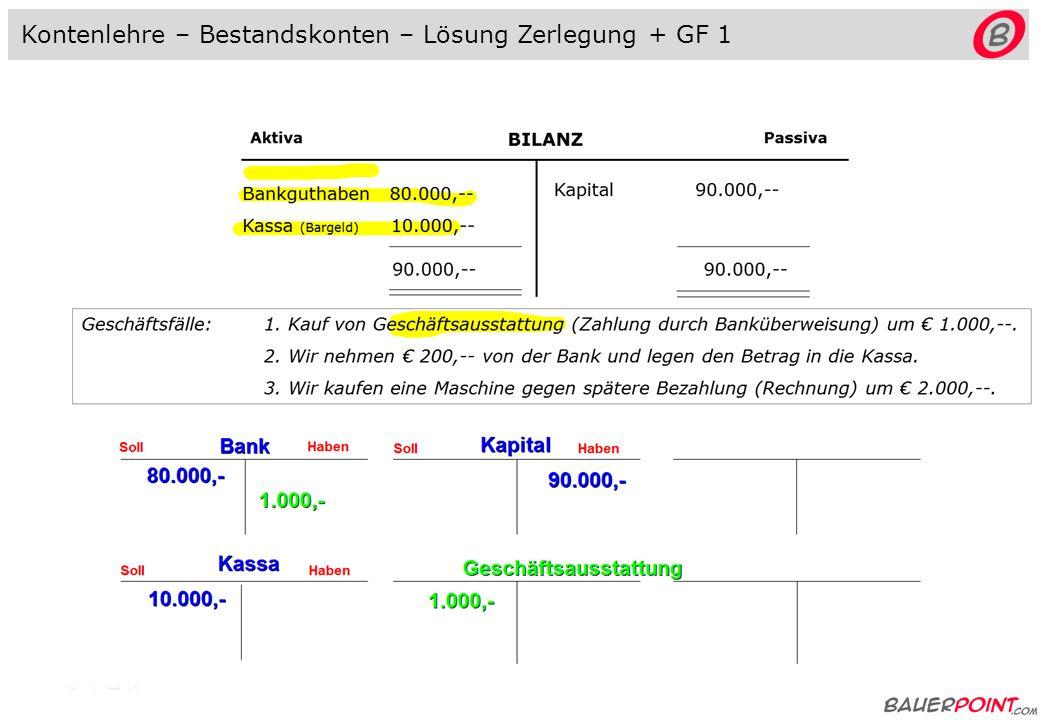 BILANZ AktivaPassiva Bankguthaben 80.000,-- Kassa (Bargeld) 10.000,-- Kapital 90.000,-- 90.000,-- Kontenlehre - Bestandskonten Geschäftsfälle: 1.
