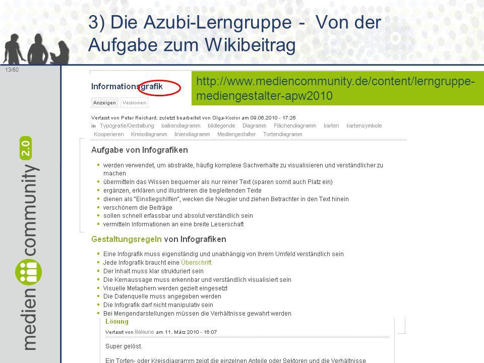 13/50 3) Die Azubi-Lerngruppe - Von der Aufgabe zum Wikibeitrag http://www.mediencommunity.de/content/lerngruppe- mediengestalter-apw2010