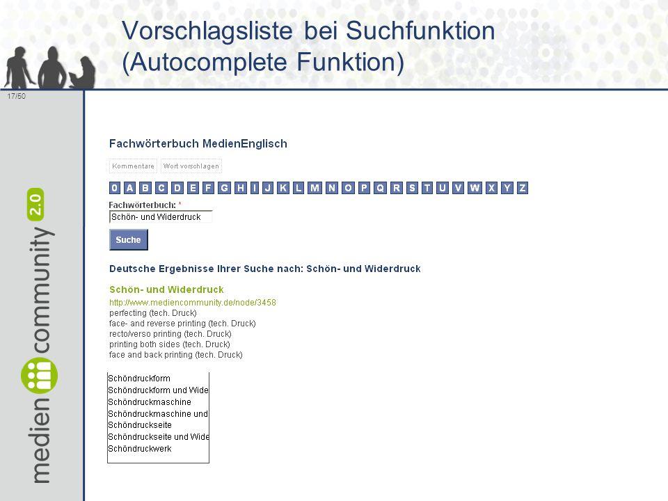 17/50 Vorschlagsliste bei Suchfunktion (Autocomplete Funktion)