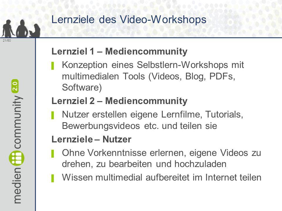 21/50 Lernziele des Video-Workshops Lernziel 1 – Mediencommunity ▌ Konzeption eines Selbstlern-Workshops mit multimedialen Tools (Videos, Blog, PDFs, Software) Lernziel 2 – Mediencommunity ▌ Nutzer erstellen eigene Lernfilme, Tutorials, Bewerbungsvideos etc.