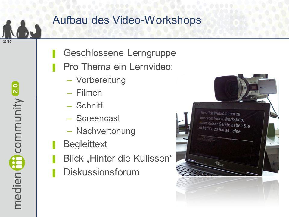 23/50 Aufbau des Video-Workshops ▌ Geschlossene Lerngruppe ▌ Pro Thema ein Lernvideo: –Vorbereitung –Filmen –Schnitt –Screencast –Nachvertonung ▌ Begl