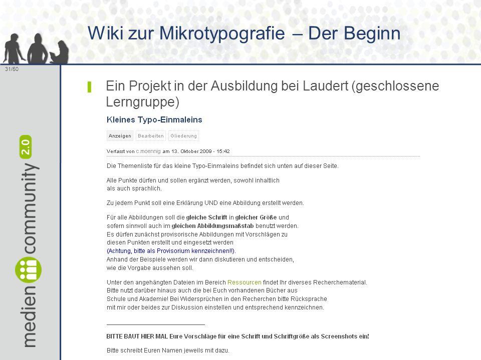 31/50 Wiki zur Mikrotypografie – Der Beginn ▌ Ein Projekt in der Ausbildung bei Laudert (geschlossene Lerngruppe)