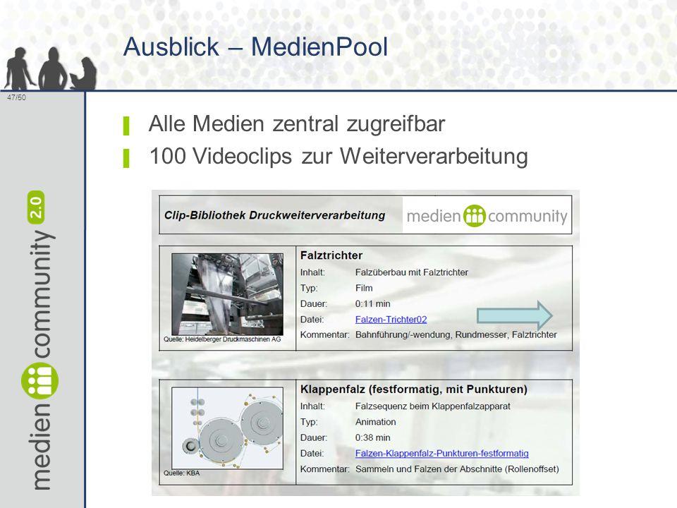 47/50 Ausblick – MedienPool ▌ Alle Medien zentral zugreifbar ▌ 100 Videoclips zur Weiterverarbeitung