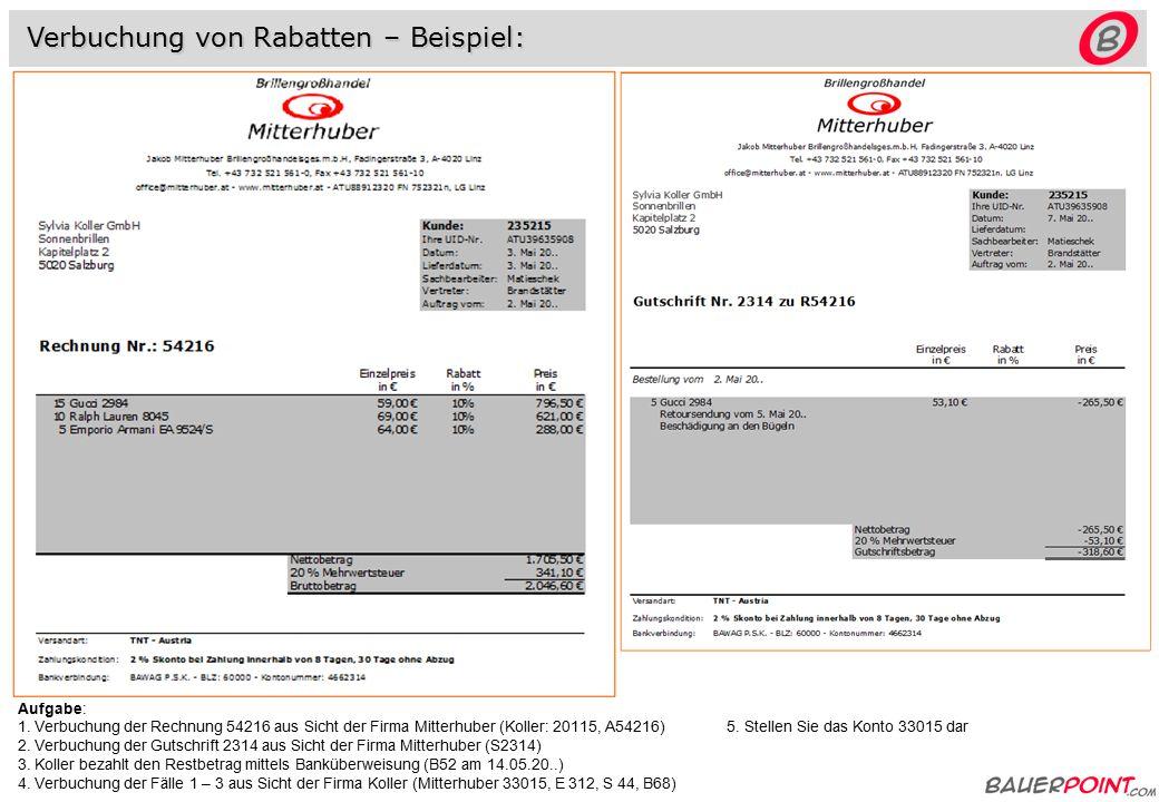 Rechnung netto 8.000,-- +20% 1.600,-- btto 9.600,-- Gutschrift netto 800,-- +20% 160,-- btto 960,-- 2000 Lieferford.