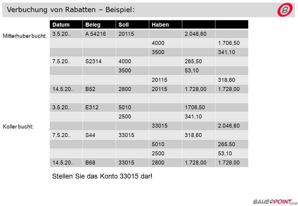 Verbuchung von Rabatten – Beispiel: Aufgabe: 1.