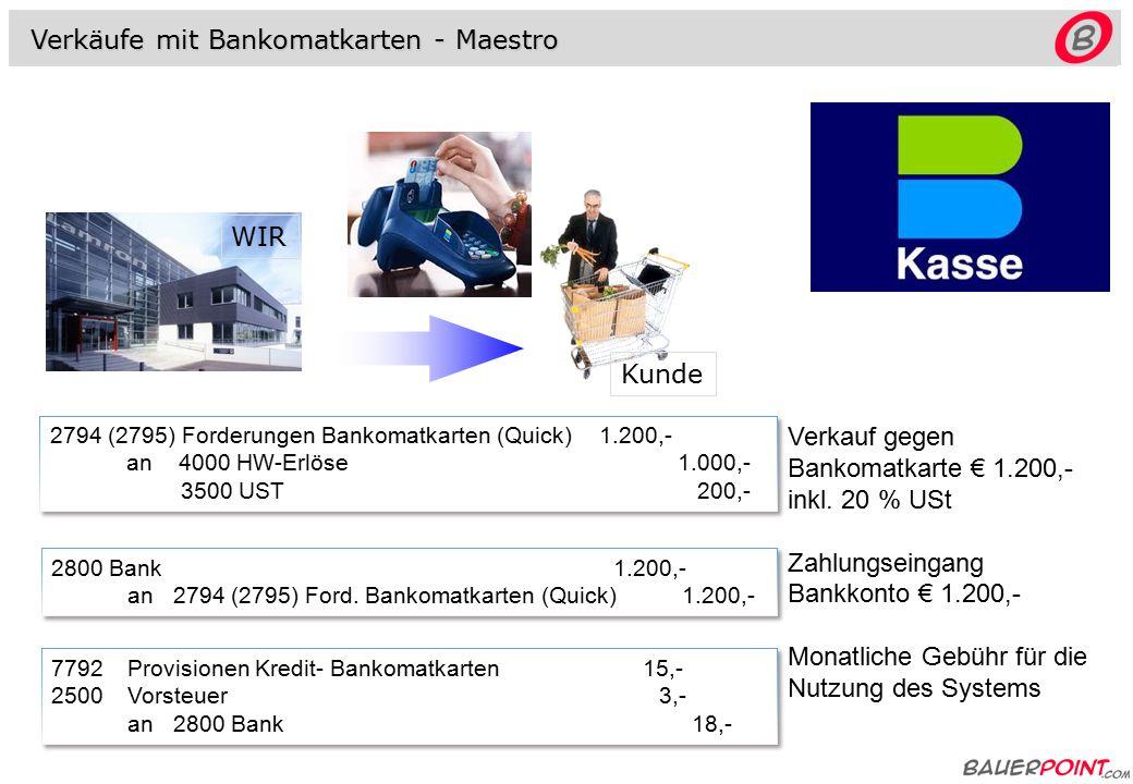 Abrechnung abz. 3 % Provision 2800 Bank1.164,- 7792Provisionen...