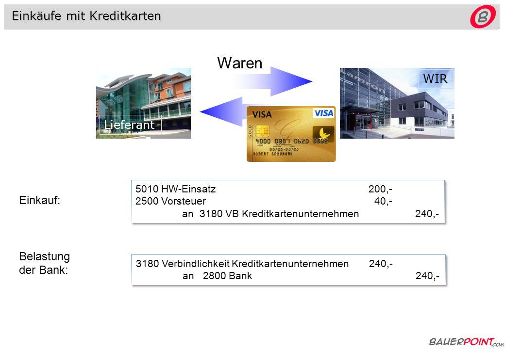 Verkäufe mit Bankomatkarten - Maestro 2794 (2795) Forderungen Bankomatkarten (Quick) 1.200,- an 4000 HW-Erlöse1.000,- 3500 UST 200,- 2794 (2795) Forderungen Bankomatkarten (Quick) 1.200,- an 4000 HW-Erlöse1.000,- 3500 UST 200,- 2800 Bank 1.200,- an 2794 (2795) Ford.