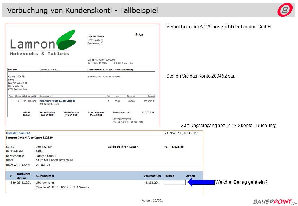 Verbuchung von Kundenskonti 20..