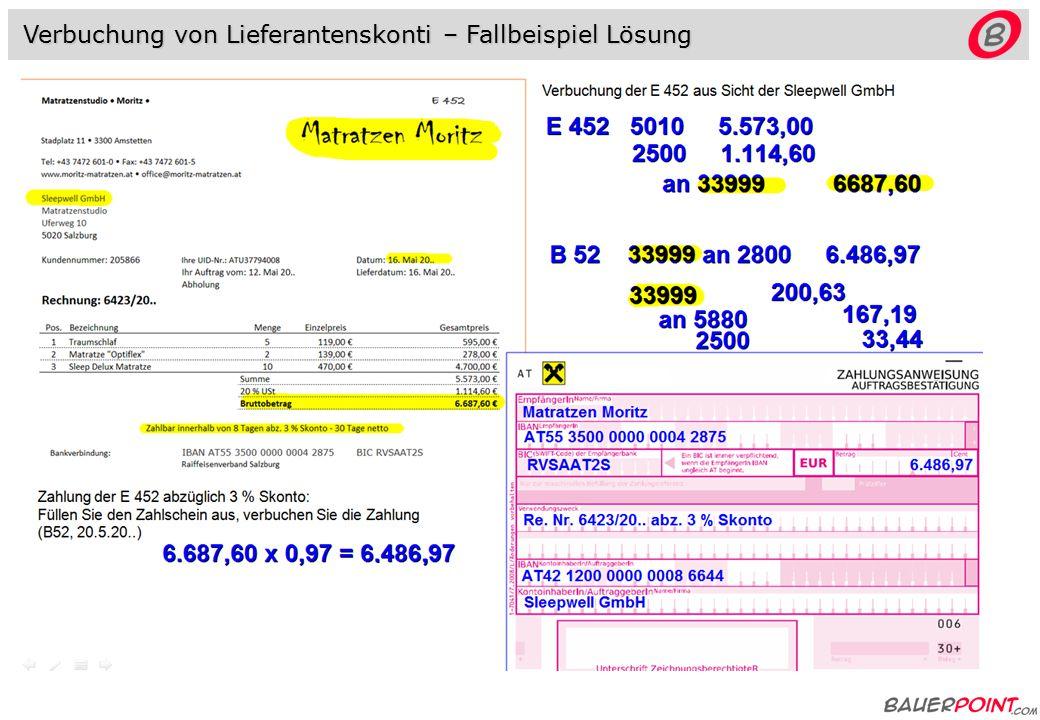 Verbuchung von Lieferantenskonti - Fallbeispiel Verbuchung der E 452 aus Sicht der Sleepwell GmbH (Moritz 33999) Zahlung der E 452 abzüglich 3 % Skonto: Füllen Sie den Zahlschein aus, verbuchen Sie die Zahlung (B52, 20.5.20.., IBAN Sleepwell: AT42 1200 0000 0008 6644 )