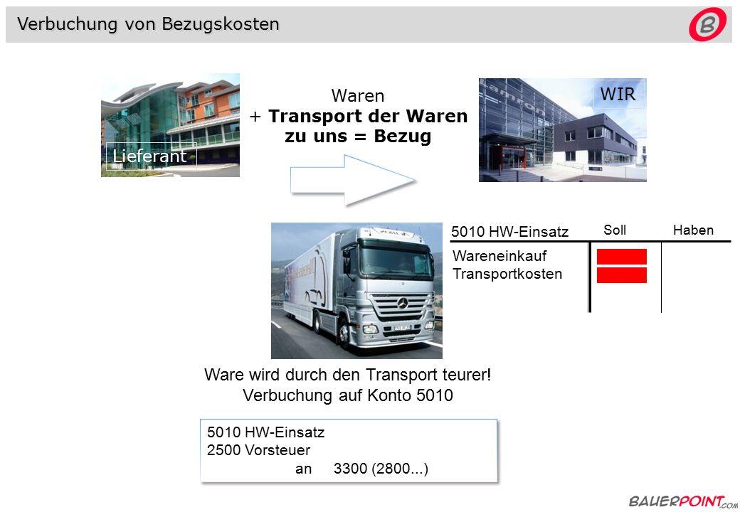 Verbuchung von Bezugskosten Ware wird durch den Transport teurer.