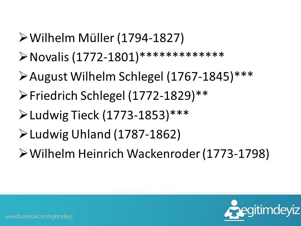  Wilhelm Müller (1794-1827)  Novalis (1772-1801)*************  August Wilhelm Schlegel (1767-1845)***  Friedrich Schlegel (1772-1829)**  Ludwig Tieck (1773-1853)***  Ludwig Uhland (1787-1862)  Wilhelm Heinrich Wackenroder (1773-1798)