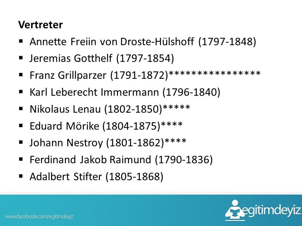 Vertreter  Annette Freiin von Droste-Hülshoff (1797-1848)  Jeremias Gotthelf (1797-1854)  Franz Grillparzer (1791-1872)****************  Karl Lebe