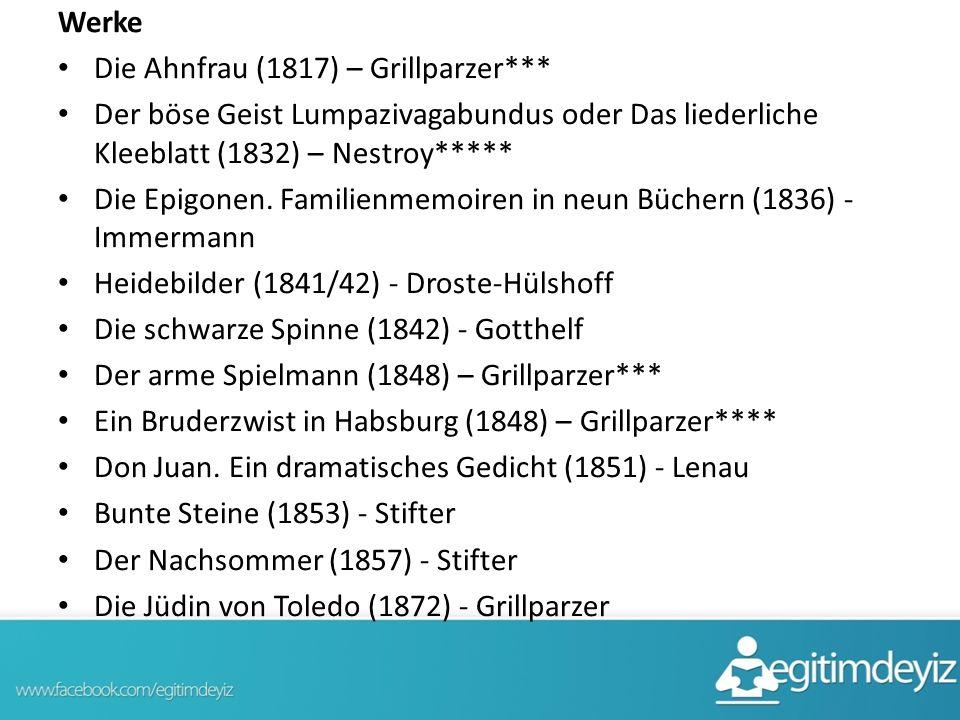 Werke Die Ahnfrau (1817) – Grillparzer*** Der böse Geist Lumpazivagabundus oder Das liederliche Kleeblatt (1832) – Nestroy***** Die Epigonen. Familien