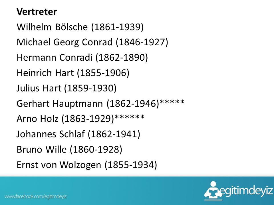 Vertreter Wilhelm Bölsche (1861-1939) Michael Georg Conrad (1846-1927) Hermann Conradi (1862-1890) Heinrich Hart (1855-1906) Julius Hart (1859-1930) G