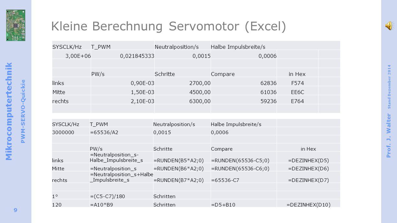 Mikrocomputertechnik PWM-SERVO-Quickie Prof.J.