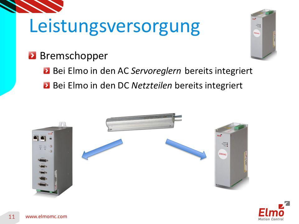 11 Leistungsversorgung Bremschopper Bei Elmo in den AC Servoreglern bereits integriert Bei Elmo in den DC Netzteilen bereits integriert