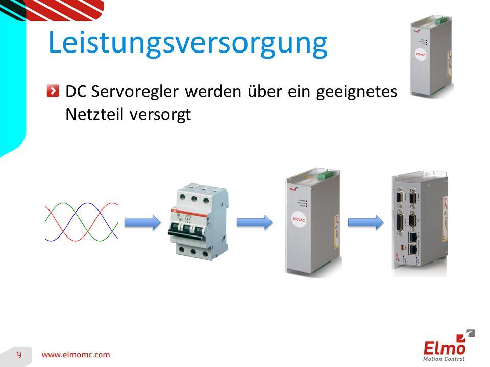 9 Leistungsversorgung DC Servoregler werden über ein geeignetes Netzteil versorgt