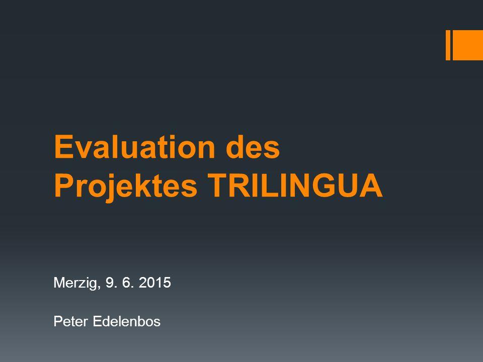 Evaluation des Projektes TRILINGUA Merzig, 9. 6. 2015 Peter Edelenbos
