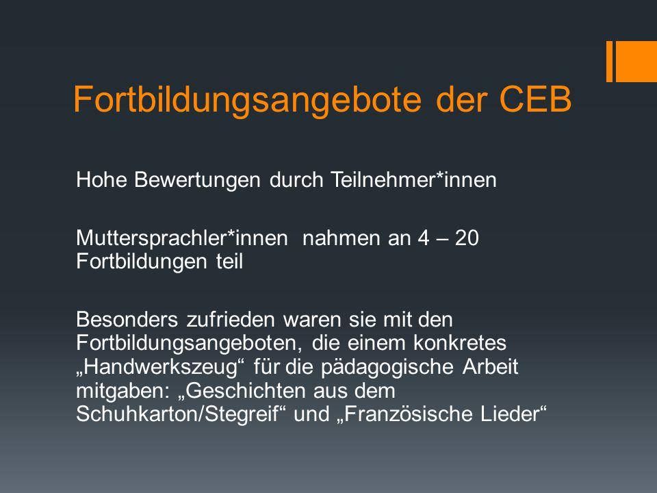 Fortbildungsangebote der CEB Hohe Bewertungen durch Teilnehmer*innen Muttersprachler*innen nahmen an 4 – 20 Fortbildungen teil Besonders zufrieden war
