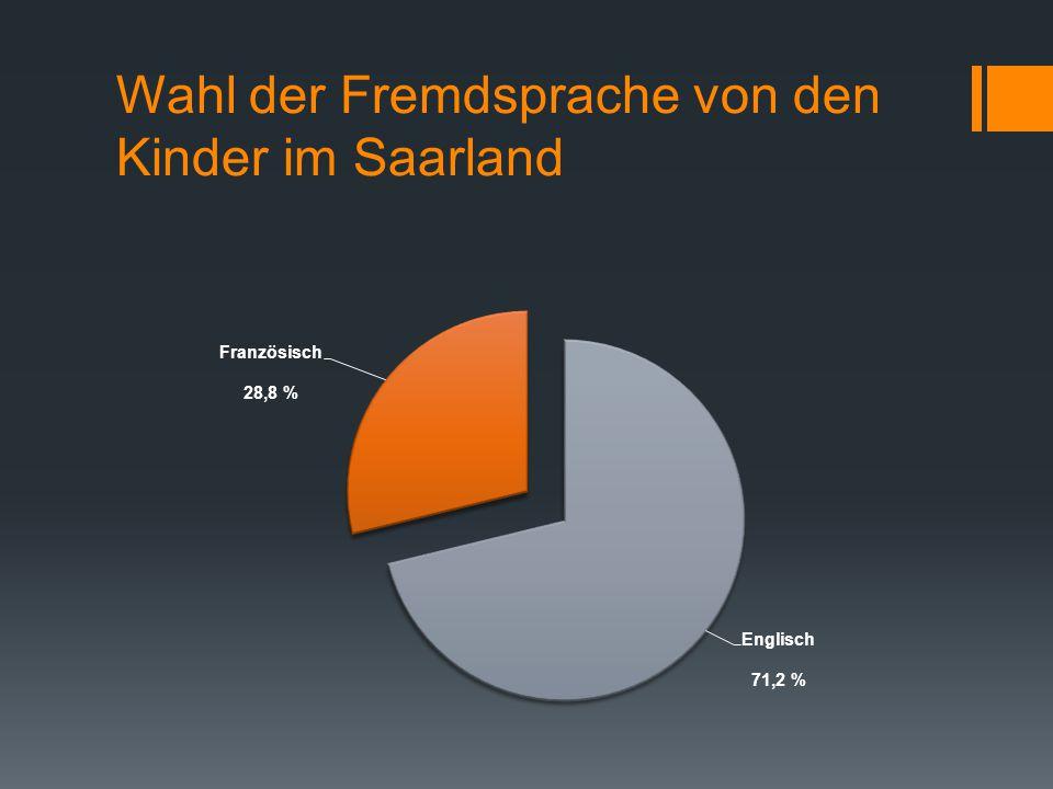 Wahl der Fremdsprache von den Kinder im Saarland