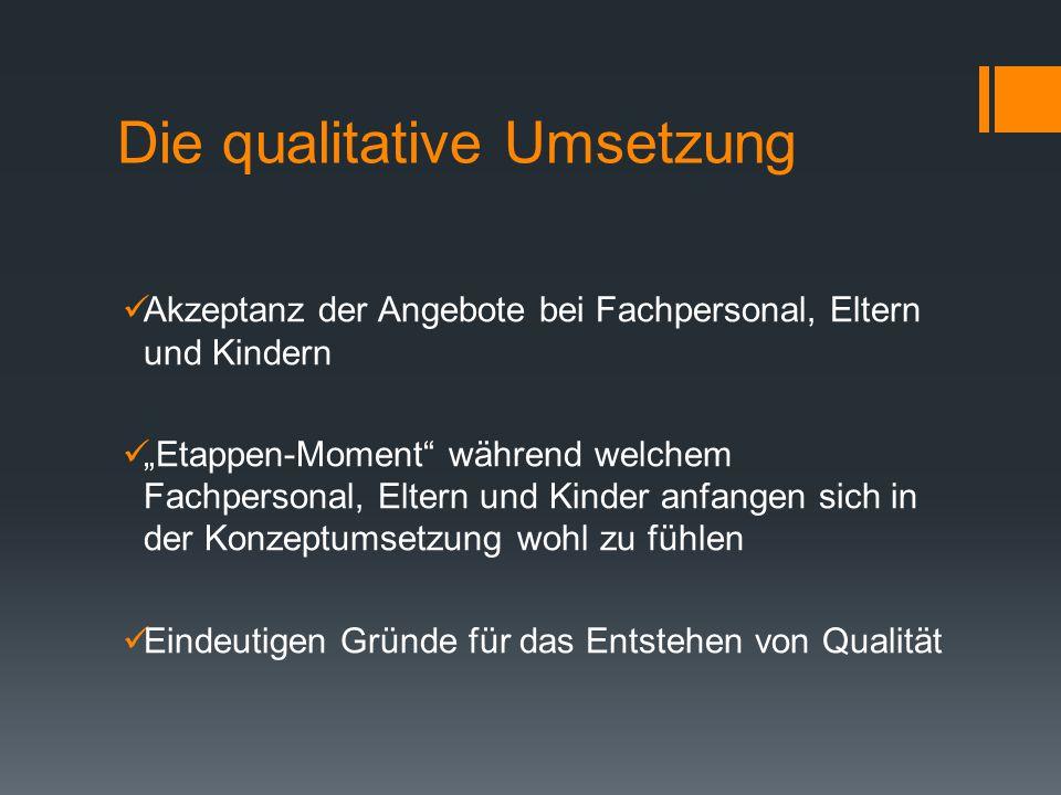 """Die qualitative Umsetzung Akzeptanz der Angebote bei Fachpersonal, Eltern und Kindern """"Etappen-Moment"""" während welchem Fachpersonal, Eltern und Kinder"""