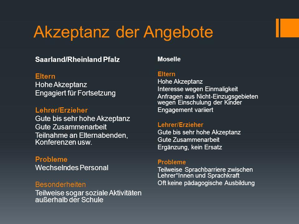 Akzeptanz der Angebote Saarland/Rheinland Pfalz Eltern Hohe Akzeptanz Engagiert für Fortsetzung Lehrer/Erzieher Gute bis sehr hohe Akzeptanz Gute Zusammenarbeit Teilnahme an Elternabenden, Konferenzen usw.