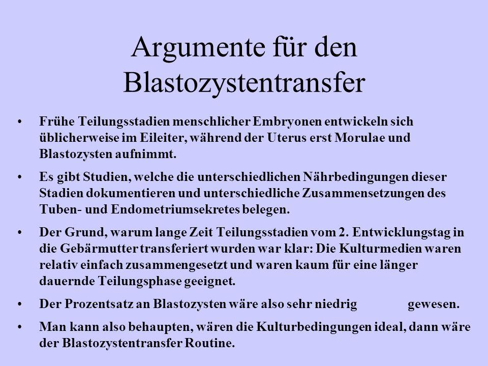 Argumente für den Blastozystentransfer Frühe Teilungsstadien menschlicher Embryonen entwickeln sich üblicherweise im Eileiter, während der Uterus erst Morulae und Blastozysten aufnimmt.