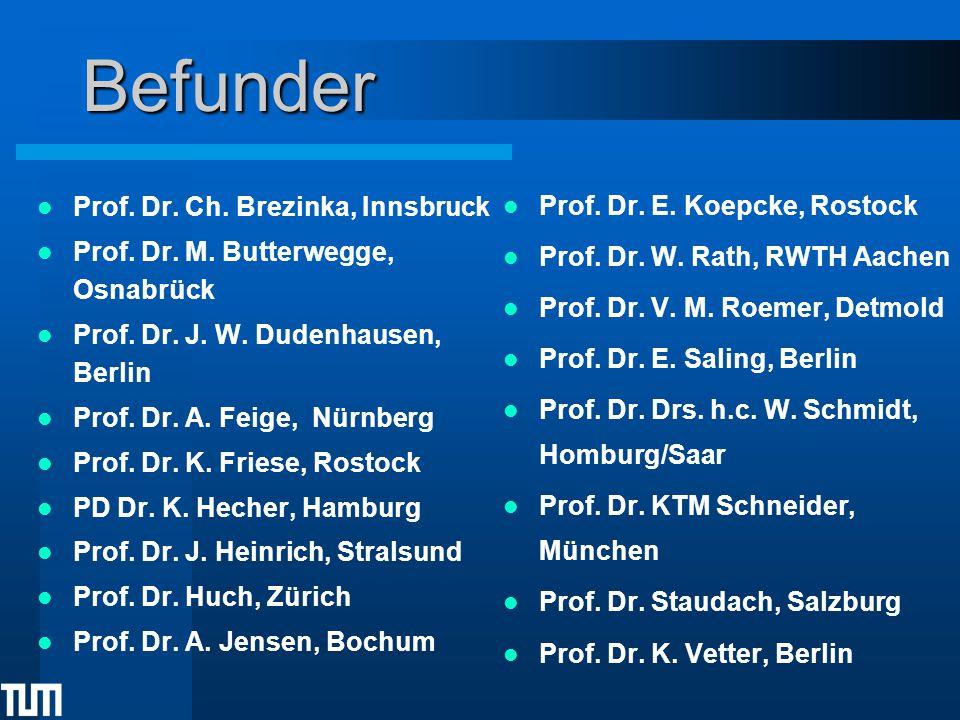 Befunder Prof. Dr. Ch. Brezinka, Innsbruck Prof. Dr. M. Butterwegge, Osnabrück Prof. Dr. J. W. Dudenhausen, Berlin Prof. Dr. A. Feige, Nürnberg Prof.