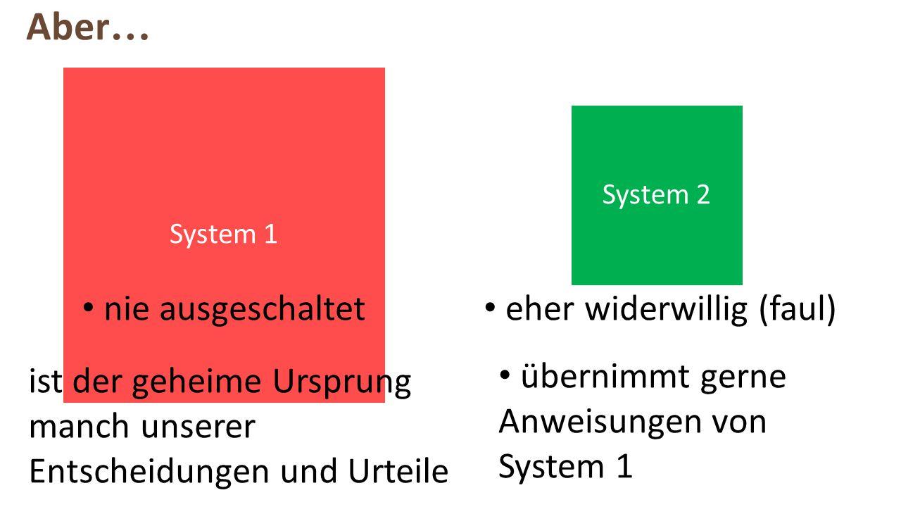 System 1 System 2 ist der geheime Ursprung manch unserer Entscheidungen und Urteile eher widerwillig (faul) nie ausgeschaltet übernimmt gerne Anweisungen von System 1