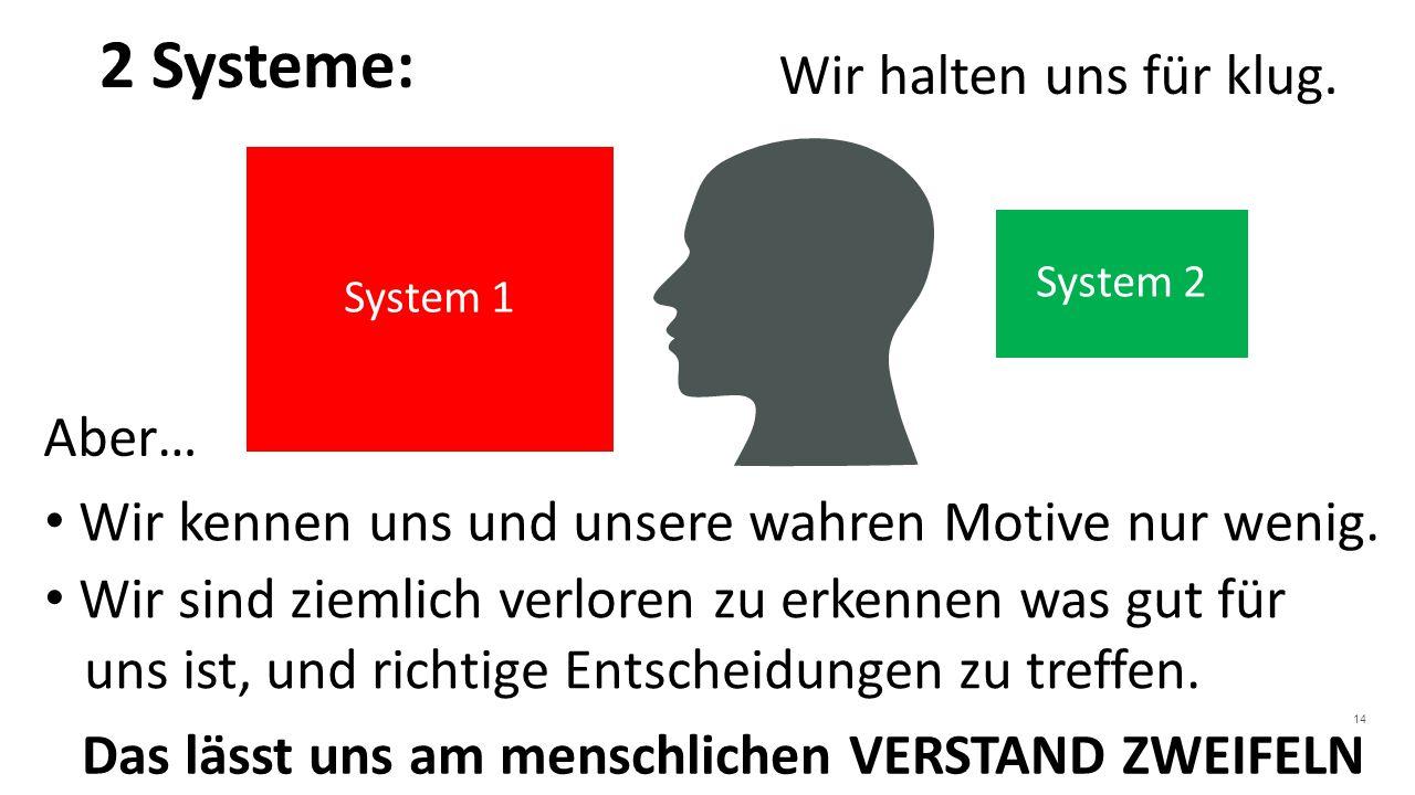 14 System 1 System 2 2 Systeme: Wir halten uns für klug.