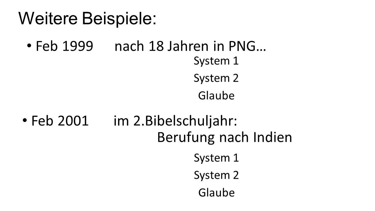 Weitere Beispiele: Feb 1999 nach 18 Jahren in PNG… Feb 2001 im 2.Bibelschuljahr: Berufung nach Indien System 1 System 2 Glaube System 1 System 2 Glaube