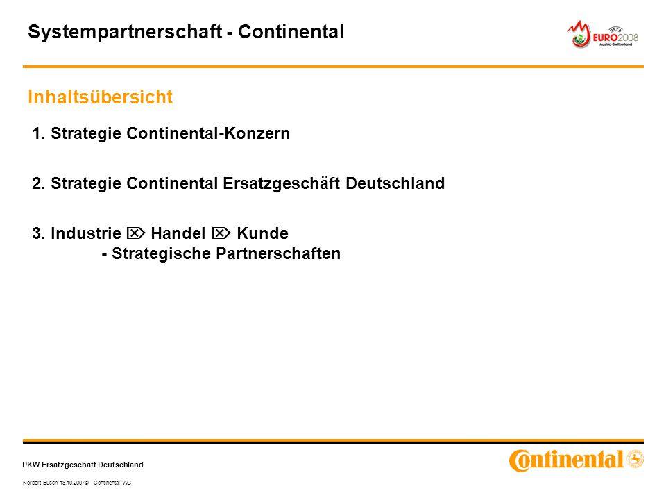PKW Ersatzgeschäft Deutschland Norbert Busch 18.10.2007© Continental AG 1. Strategie Continental-Konzern 2. Strategie Continental Ersatzgeschäft Deuts