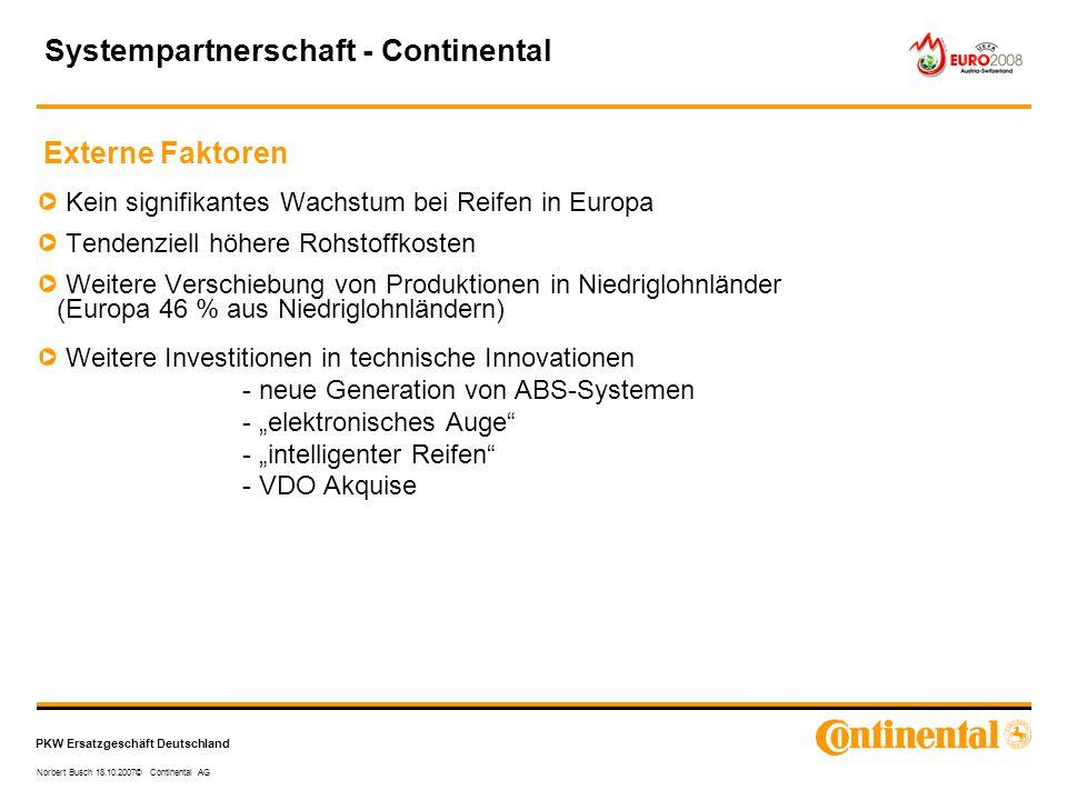 PKW Ersatzgeschäft Deutschland Norbert Busch 18.10.2007© Continental AG Kein signifikantes Wachstum bei Reifen in Europa Tendenziell höhere Rohstoffko