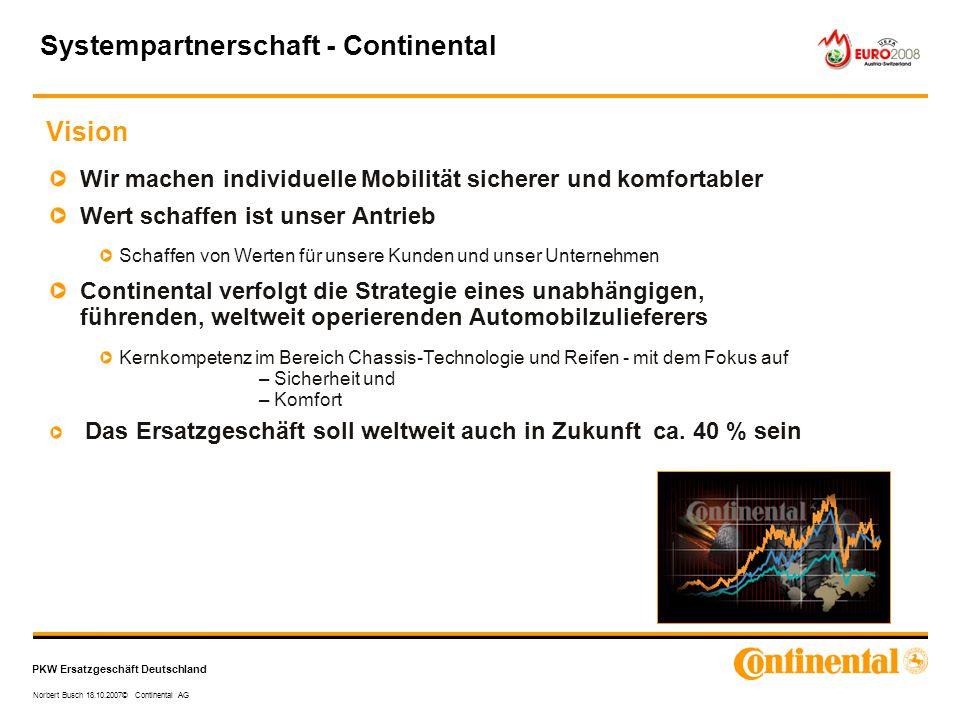 PKW Ersatzgeschäft Deutschland Norbert Busch 18.10.2007© Continental AG Wir machen individuelle Mobilität sicherer und komfortabler Wert schaffen ist