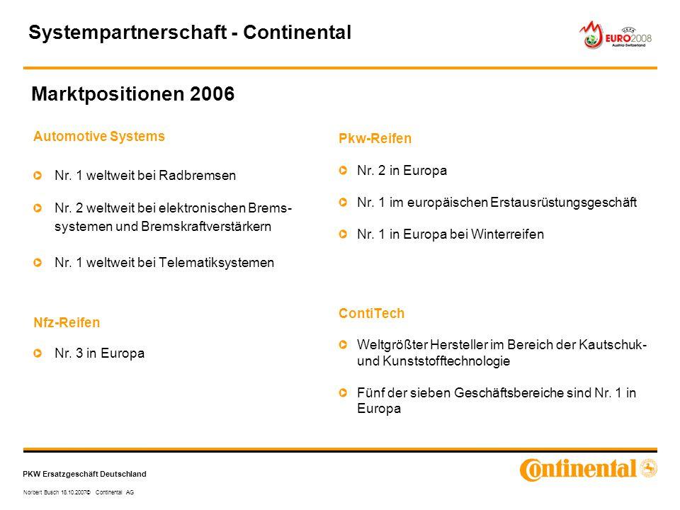 PKW Ersatzgeschäft Deutschland Norbert Busch 18.10.2007© Continental AG Marktpositionen 2006 Automotive Systems Nr. 1 weltweit bei Radbremsen Nr. 2 we