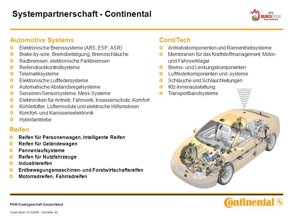 PKW Ersatzgeschäft Deutschland Norbert Busch 18.10.2007© Continental AG Automotive Systems Elektronische Bremssysteme (ABS, ESP, ASR) Brake-by-wire, B