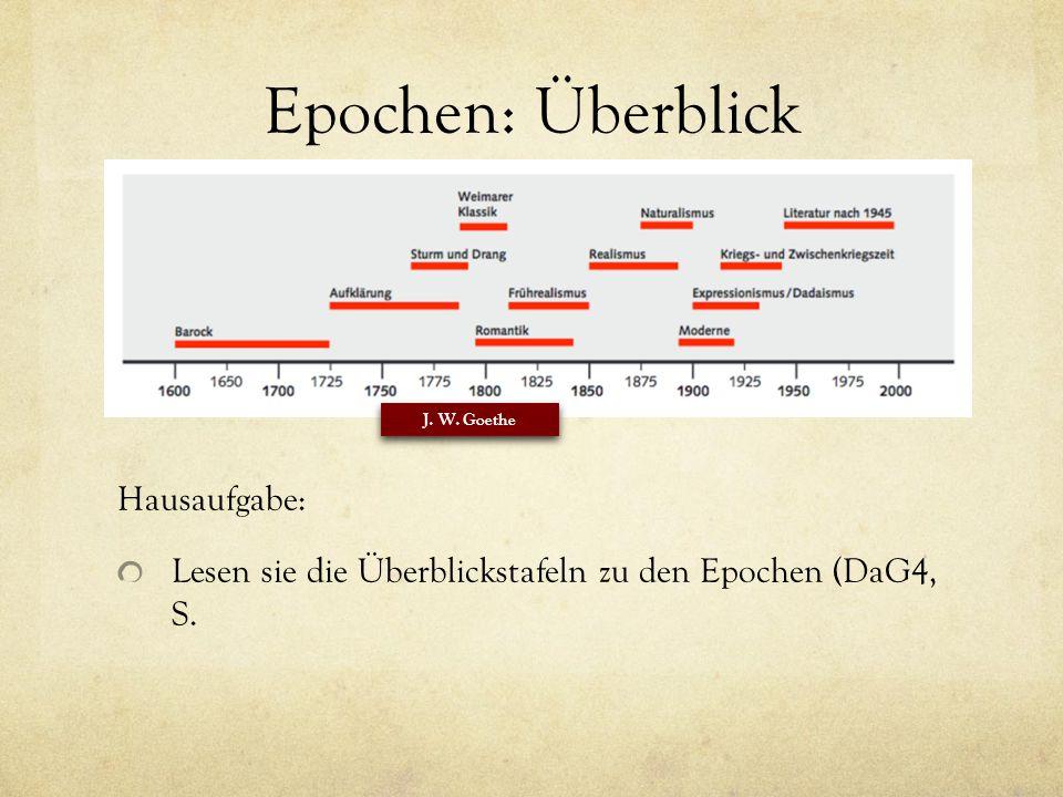 Epochen: Überblick Hausaufgabe: Lesen sie die Überblickstafeln zu den Epochen (DaG4, S.