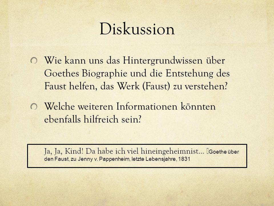 Diskussion Wie kann uns das Hintergrundwissen über Goethes Biographie und die Entstehung des Faust helfen, das Werk (Faust) zu verstehen.