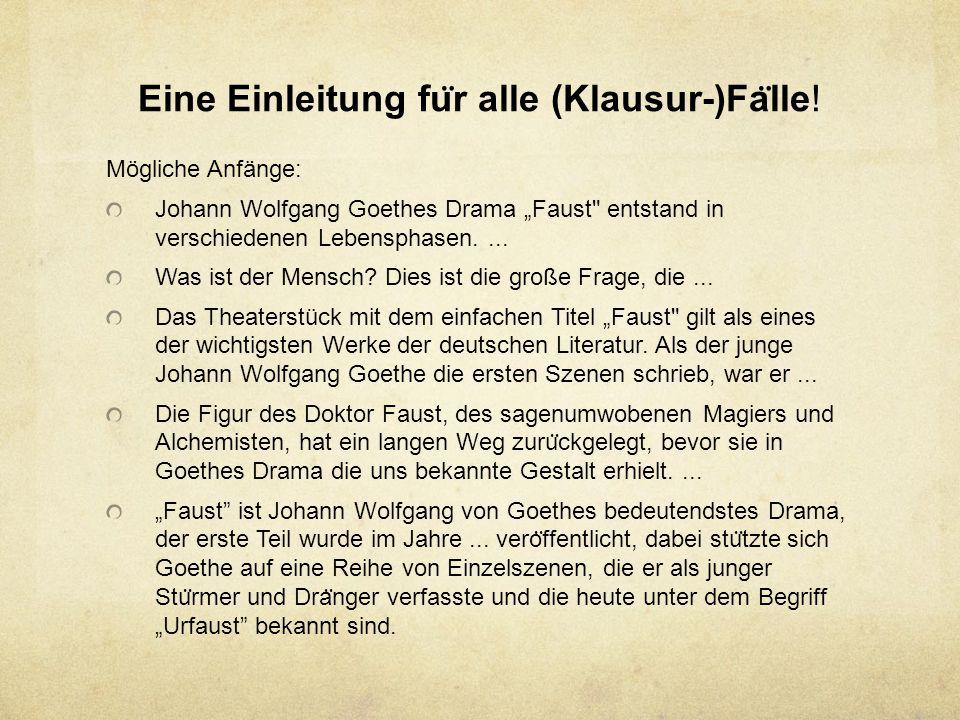 Eine Einleitung fu ̈ r alle (Klausur-)Fa ̈ lle.