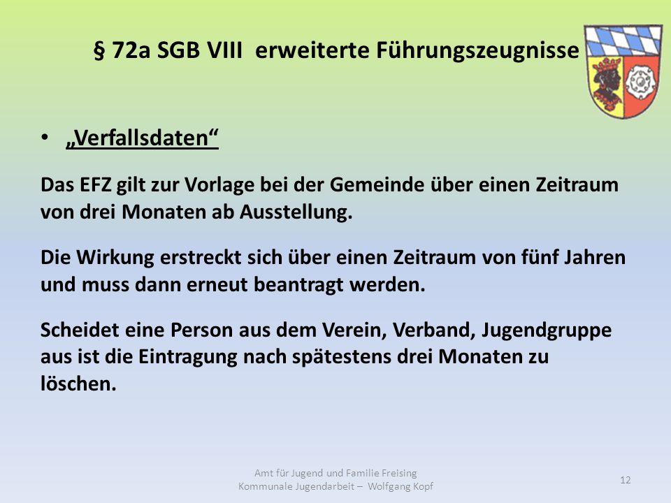 """§ 72a SGB VIII erweiterte Führungszeugnisse """"Verfallsdaten Das EFZ gilt zur Vorlage bei der Gemeinde über einen Zeitraum von drei Monaten ab Ausstellung."""