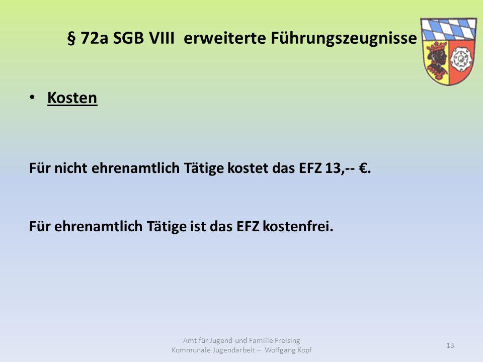 § 72a SGB VIII erweiterte Führungszeugnisse Kosten Für nicht ehrenamtlich Tätige kostet das EFZ 13,-- €. Für ehrenamtlich Tätige ist das EFZ kostenfre
