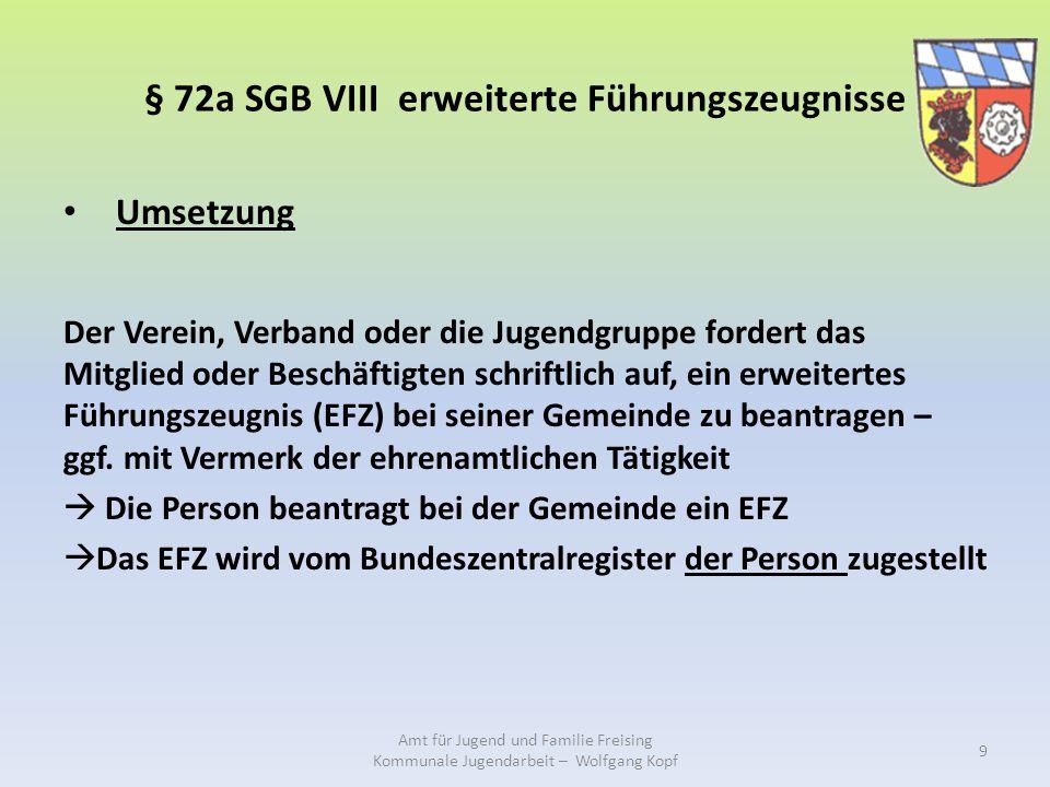 § 72a SGB VIII erweiterte Führungszeugnisse Umsetzung Der Verein, Verband oder die Jugendgruppe fordert das Mitglied oder Beschäftigten schriftlich auf, ein erweitertes Führungszeugnis (EFZ) bei seiner Gemeinde zu beantragen – ggf.