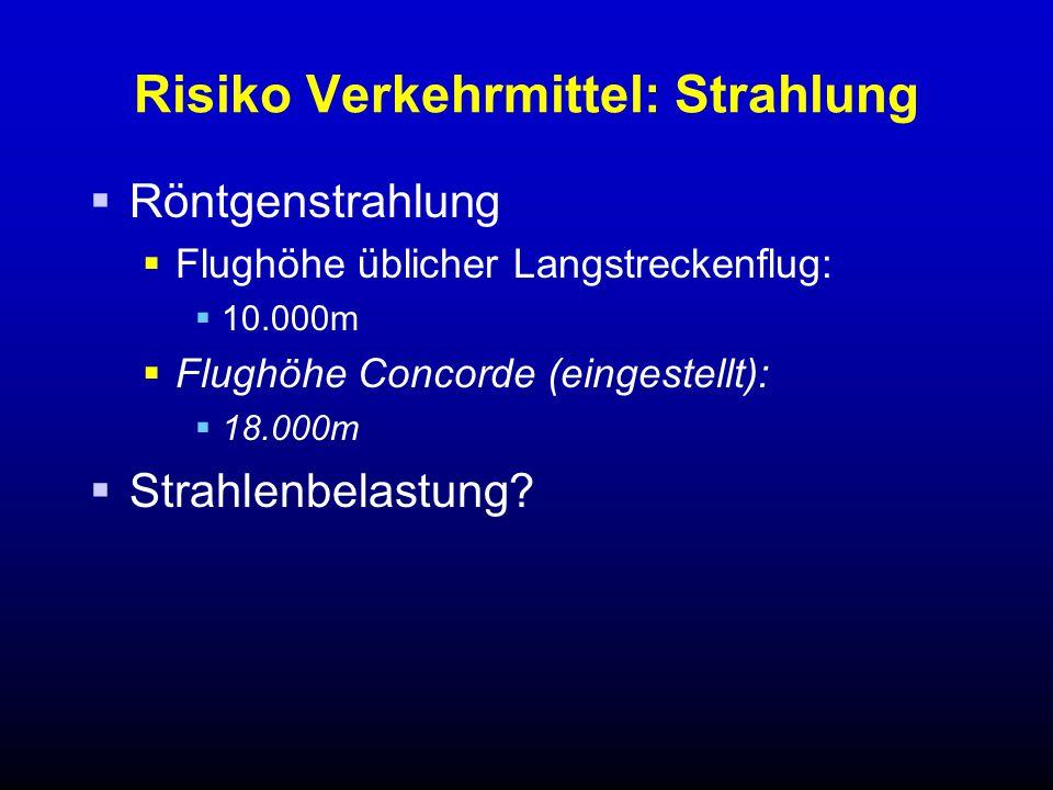Risiko Verkehrmittel: Strahlung  Röntgenstrahlung  Flughöhe üblicher Langstreckenflug:  10.000m  Flughöhe Concorde (eingestellt):  18.000m  Strahlenbelastung?
