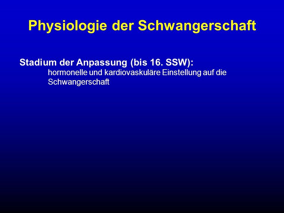 Stadium der Anpassung (bis 16. SSW): hormonelle und kardiovaskuläre Einstellung auf die Schwangerschaft Physiologie der Schwangerschaft