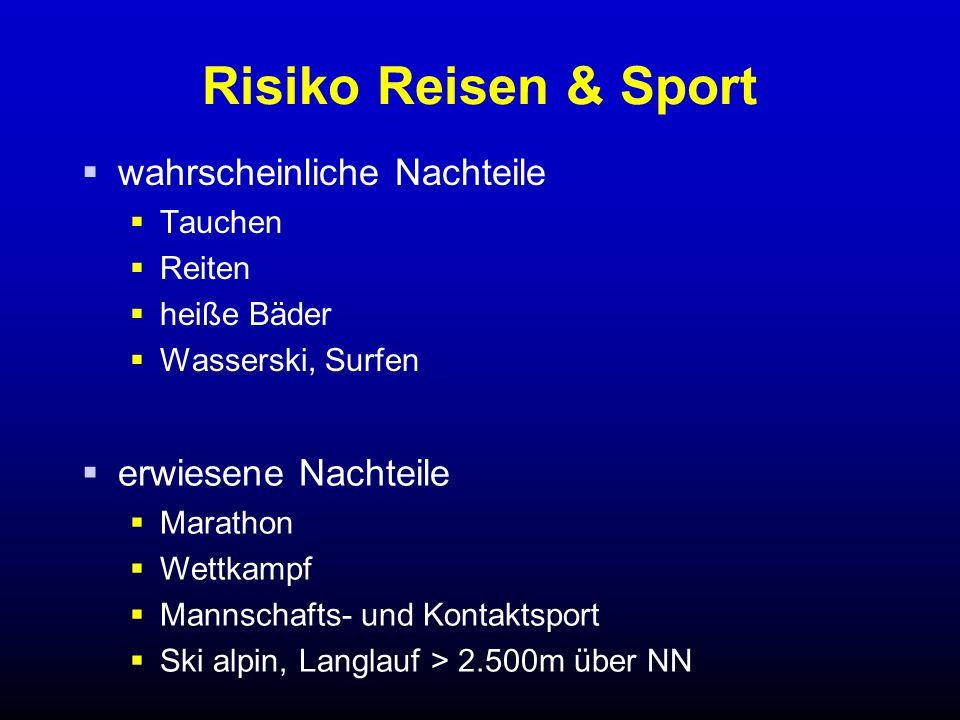 Risiko Reisen & Sport  wahrscheinliche Nachteile  Tauchen  Reiten  heiße Bäder  Wasserski, Surfen  erwiesene Nachteile  Marathon  Wettkampf  Mannschafts- und Kontaktsport  Ski alpin, Langlauf > 2.500m über NN