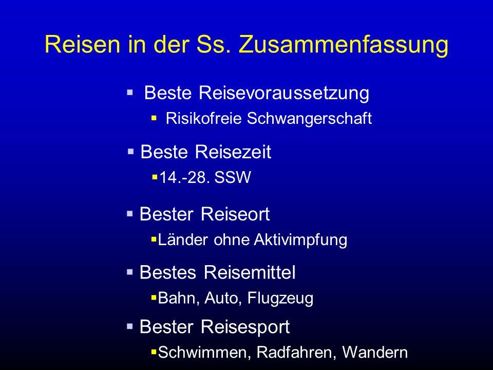 Reisen in der Ss. Zusammenfassung  Beste Reisevoraussetzung  Risikofreie Schwangerschaft  Beste Reisezeit  14.-28. SSW  Bester Reiseort  Länder