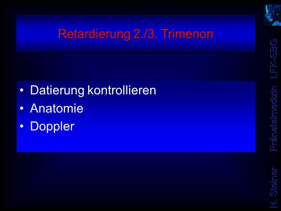 Retardierung 2./3. Trimenon Datierung kontrollieren Anatomie Doppler